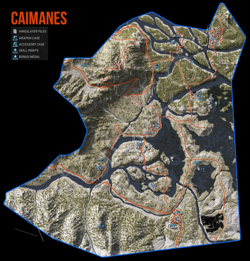 Ghost Recon Wildlands Caimanes Collectables Map
