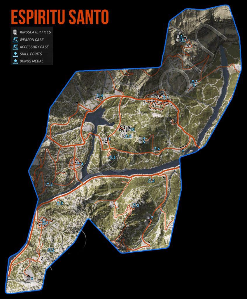 Ghost Recon: Wildlands Espiritu Santo Collectables Map