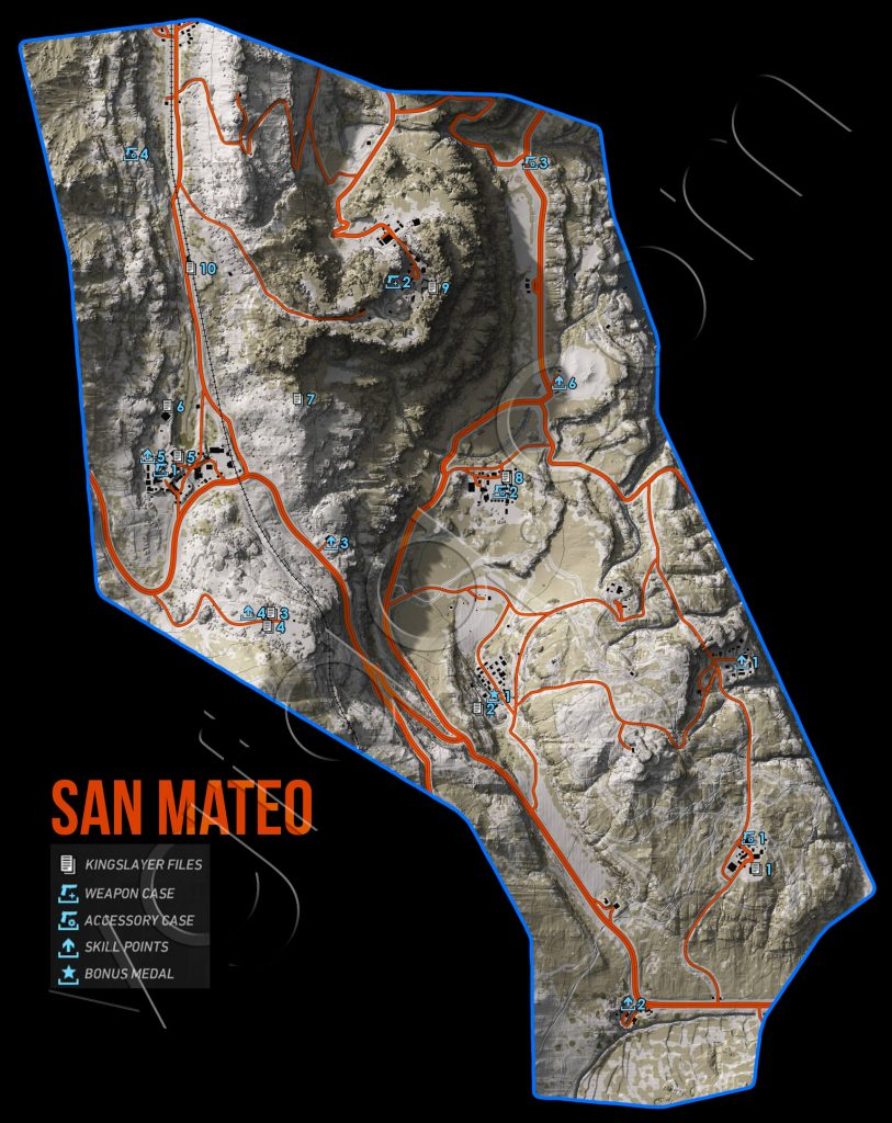 Ghost Recon: Wildlands San Mateo Collectables Map